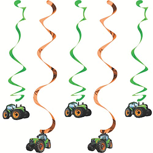 Creative Converting 5 Count Tractor Time Hanging Decorations, Multicolor