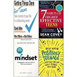 Getting Things Done for Teens, 7 Habits of Highly Effective Teens, Mindset Carol Dweck, Positively Teenage 4 Books Collection Set