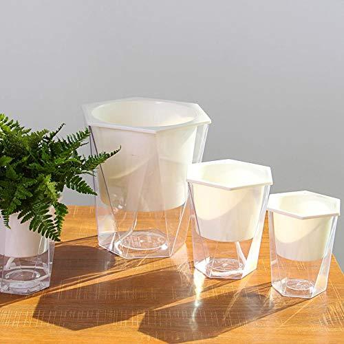 Juecan Automatische bloempot voor bewatering van bloembakken en waterreservoir, rond, 12 x 11 cm, 14 x 15 cm, 20 x 20 cm S