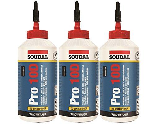 Sparset 3x 750ml Soudal Holzleim Pro 10D -> lösemittelfreier Kleber auf PVAC-Basis speziell für den Innenbereich
