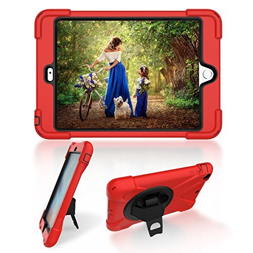 "Minghuge - iPad Mini 1/2/3/4 7.9"" Multi-function iPad Protector Case. 3 Layer Shock Proof Armor, 360 Degree Rotating Hand Attachment, Shoulder Carrier 