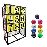 Macro Giant ポータブル投球目標セット、3×3配置のパネル1個、PU野球ボール9個、ピッチング練習、親子活動、キャンプ活動、屋内と屋外のゲーム、車庫練習、軟球、組立簡単
