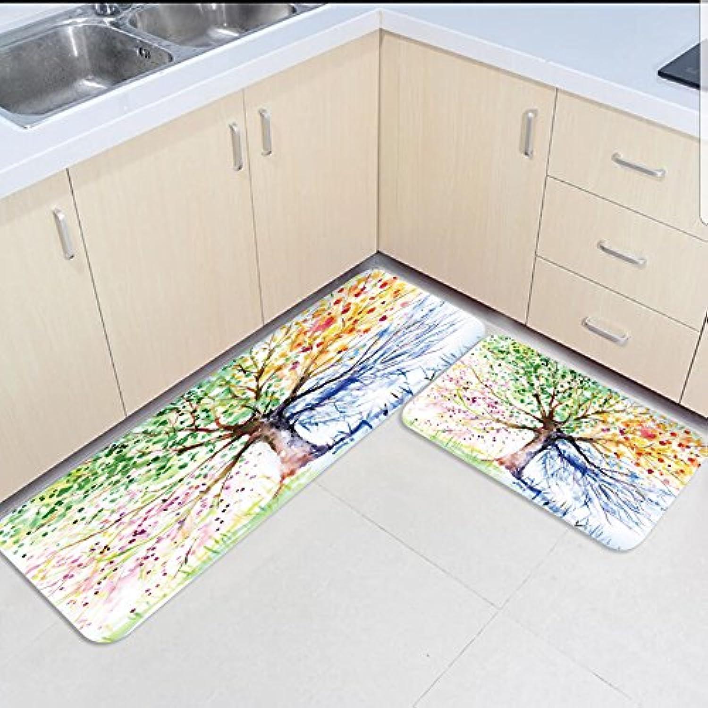 HomeCreator Non Slip 2pc Kitchen Area Rugs Life Tree Absorbent Antibacterial Indoor Door Mats Set for Kitchen Dining Living Rug Runner 23.6 x35.4  23.6 x70.9