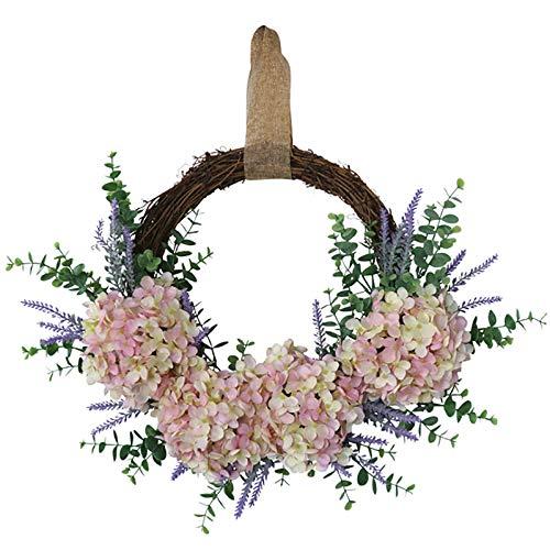 LWAN3 Hortensienkränze mit Lavendel und grünen Blättern für Haustür, Frühlingssommer-Kranz, Weinrebenkranz Basis, Bauernhaus-Willkommens-Türkranz für den täglichen Gebrauch als Fensterdekoration
