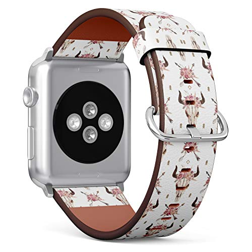 S-Type iWatch Leather Strap Printing Replacement Wristbands Compatible with Apple Watch 4/3/2/1 Sport Series (38mm) - Watercolor Boho Pattern of Arrows, Bull Skull with Horns