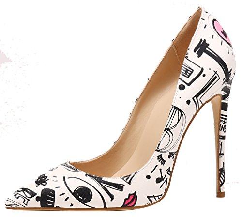 AOOAR Damen Stilettos Mehrfarbig Geblümt Weiß Kritzeln-6 Party Schuhe EU 39