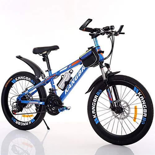 YAOXI Bicicleta De Montaña con Suspensión Amortiguación Horquilla, Bolsillo del Marco Y Sostenedor De Botella De Agua Engranaje 21 De Doble Disco De Freno Niño-Niña Bicicleta,Azul,24Inch