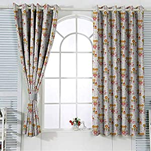 Baby Nursery & Infant Care Curtains Children Cartoon Drawing with House Bunny and Floral Elements Soft Colored Pattern Grommet Top Blackout Draperies and Drapes