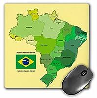 3drose LLC 8x 8x 0.25インチカラフルなブラジルの政治マップwith各状態identified、英語とポルトガル語テキストとフラグ、マウスパッド( MP _ 99125_ 1)