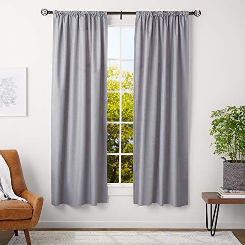 Amazon Basics - Bastone per tenda, con terminali a gabbia, da 91 a 183 cm, diametro 3 cm, caffè (bronzo scuro)