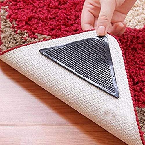 letaowl Felpudos de 14,5 x 10,5 cm de goma antideslizante reutilizable para el suelo de la alfombra, cinta adhesiva de las esquinas de color negro, lavable, tapón, tapón, felpudo