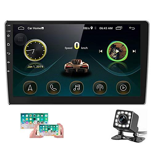 Hikity Autoradio 2 Din Android da 10.1 pollici Bluetooth FM GPS WiFi Collegamento Specchio Per Lettore Multimediale Toccare Schermo HD 1080P (Android/iOS)+Telecamera per la Retromarcia+Doppio Cavo USB