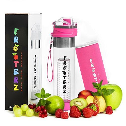 Premium Fruit Infuser Trinkflasche mit Früchtebehälter 700ml inkl. Thermohülle - BPA frei - LFBG zertifizierte Sportflasche aus Tritan -