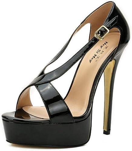 MAOMEI Grande Taille Les Les Les dames PU Talons Hauts Sandales Stiletto 16cm Chaussures de Mariage à Talons Hauts Chaussures de discothèque  gros pas cher