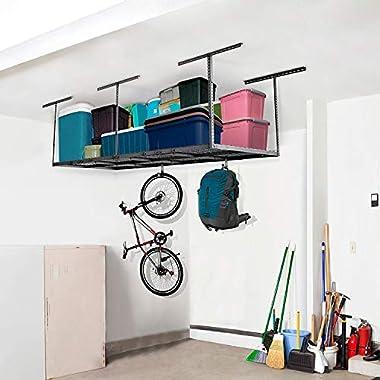 FLEXIMOUNTS 3x8 Overhead Garage Storage Rack Adjustable Ceiling Storage Rack Heavy Duty, 96  Length x 36  Width x 40  Height (Black)