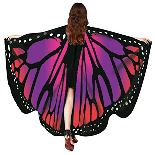 OVERDOSE Frauen 197 * 125CM Weiche Gewebe Schmetterlings Flügel Schal feenhafte Damen Nymphe Pixie Halloween Cosplay Weihnachten Cosplay Kostüm Zusatz Für Show (168 * 135CM, D-Red-168 * 135CM)
