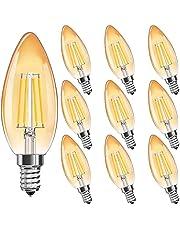 MZYOYO E14 Led-vintage gloeilamp, warmwit, 4 W, E14 retrofit, klassiek gloeidraad, kaarslamp, warmwit 2700 K, 4 W, 300 lumen, vervangt 30 watt, kaarsvorm led, amberglas, niet dimbaar, verpakking van 10 stuks