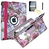JYtrend iPad 2 Case, iPad 3 Case, iPad 4 Case, (R) Rotating Stand Smart Case Cover Magnetic Auto Wake Up/Sleep for iPad 2/3/4 A1395 A1396 A1397 A1403 A1416 A1430 A1458 A1459 A1460 (Pink Flower)