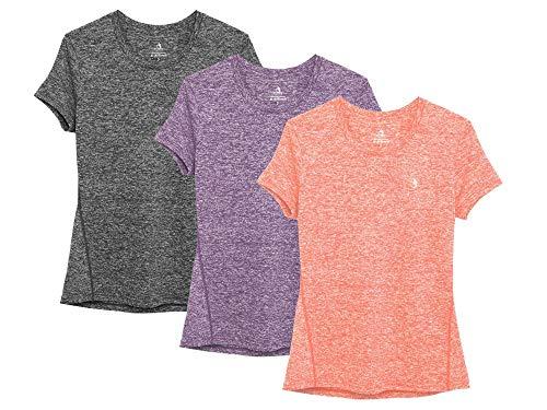 icyzone Sport T-Shirt Damen Kurzarm Laufshirt - Trainingsshirt Fitness Shirt Oberteile Rundhals (M, Charcoal/Lavender/Peach/)