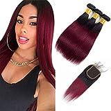 Ombre Hair 1B/99J Burgundy Straight Hair Bundles with 4x4 Lace Closure Human Brazilian Virgin Hair Sew in Hair Extensions (10' 12' 14' & 10') Inch