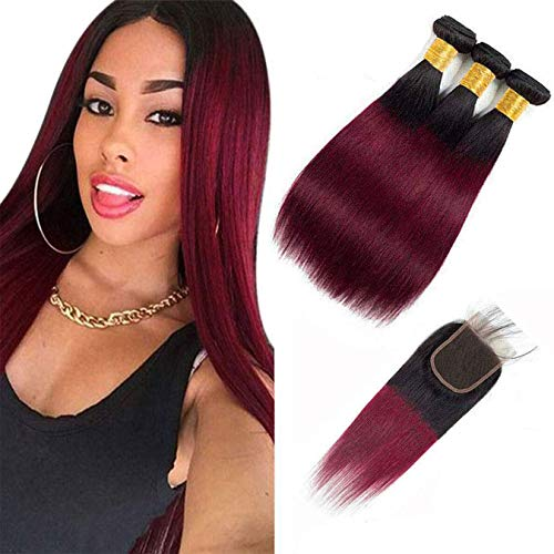 Ombre Hair 1B/99J Burgundy Straight Hair Bundles with 4x4 Lace Closure Human Brazilian Virgin Hair Sew in Hair Extensions (18' 20' 22' & 16') Inch