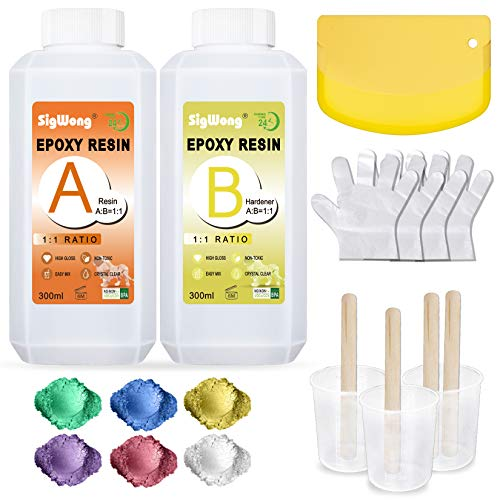Epoxy Resin Clear Crystal Coating Kit 600ml/23oz - 2 Part Casting Resin for Art, Craft, Jewelry Making, River Tables, Bonus Mica Powder, Measuring Cup, Wooden Sticks and Plastic Spatula