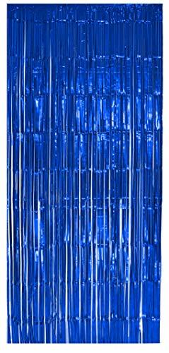 selbstklebender Lametta Vorhang in blau Größe 91 x 244 cm Perfekt als Party Deko Fenstervorhang Foto Hintergrund glitzer Vorhänge Metallfolie Goldfolie Streifenvorhang Fensterdekoration Tür Farbe Blau