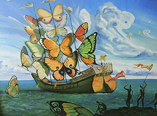 yangchunsanyue Póster Salvador Dali - Mariposa Barco Hermosa Pintura Póster Arte de la Pared Decoración Etiqueta 40x50cm No Frame U-238