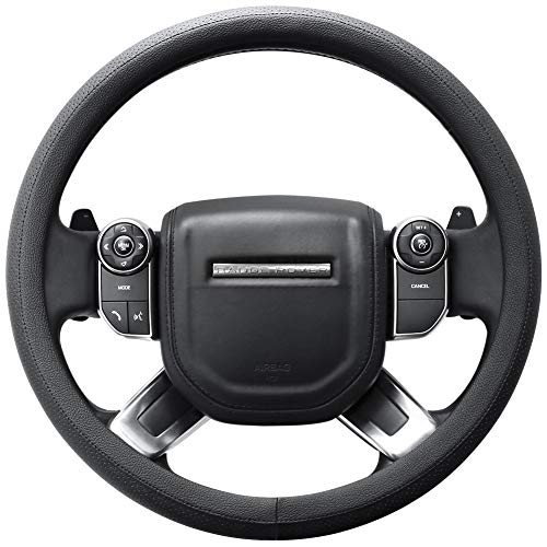 "SEG Direct Microfiber Leather Black Steering Wheel Cover for F-150 Tundra Range Rover 15.5"" - 16"""
