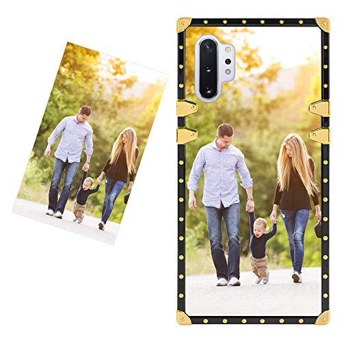 Illians Custom Samsung Galaxy Note 10 Plus Square Case Customized Personalized with Photo Image Slim Luxury Full-Body Protection Cover Wireless Charging Gold Decorative DIY Case with Your Own Quote