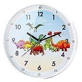 SIN&MI Wall Clock 12 Inch Cartoon Animals Children's Learn The Time Wall Clock Non-Ticking Colorful Decorative Dinosaur Wall Clock Quiet Wall Clocks Boys Girls Bedroom Studyroom Decoration