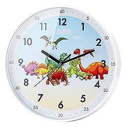 2. SIN&MI Store Cartoon Dinosaur 12″ Wall Clock