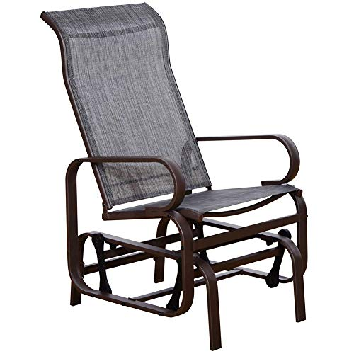 SunLife Glider Sling Rocking Chair with Gravity Heavy Duty Steel Frame Indoor Patio Garden Furniture(Gray)