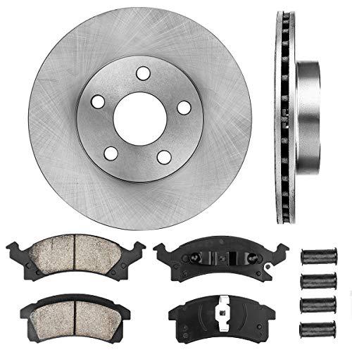 CRK11007 FRONT 259 mm Premium OE 5 Lug [2] Brake Disc Rotors + [4] Ceramic Brake Pads + Clips + Hardware (Brake Pads Chevy Cavalier)
