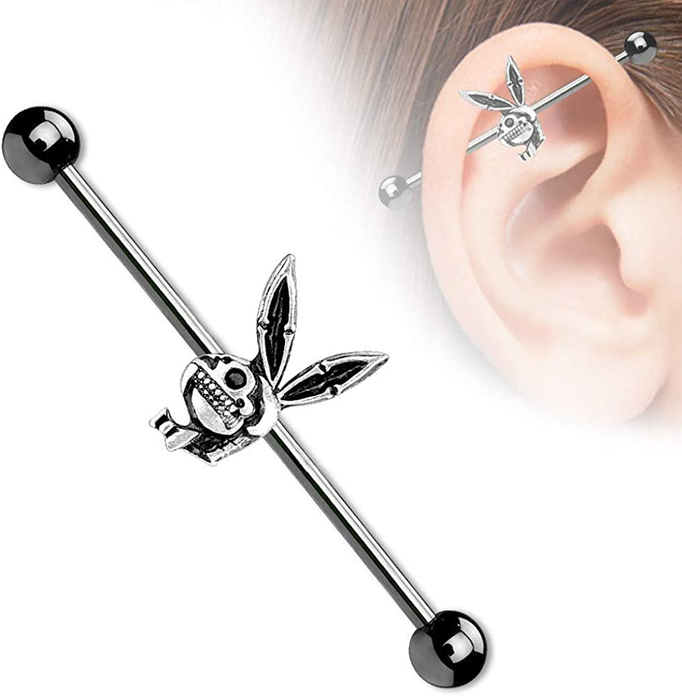 Pierced Owl 14G Playboy Bunny Skull with Black PVD Over 316L Surgical Steel Industrial Barbell