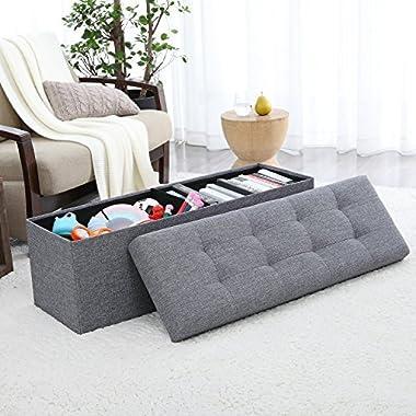 Ellington Home Foldable Tufted Linen Large Storage Ottoman Bench Foot Rest Stool/Seat - 15  x 45  x 15  (Grey)