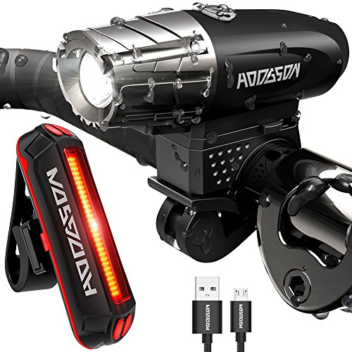 HODGSON Bike Lights 400 Lumens Bicycle Light Front and Back, USB Rechargeable Super Bright Headlight and Flashing Rear Light, IPX65 Waterproof, Easy to Install with All Accessories