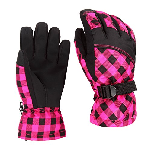 Kitechildhssd Invierno cálido al Aire Libre a Prueba de Viento Impermeable Nieve esquí Ciclismo Guantes OUTAD Rosa roja M