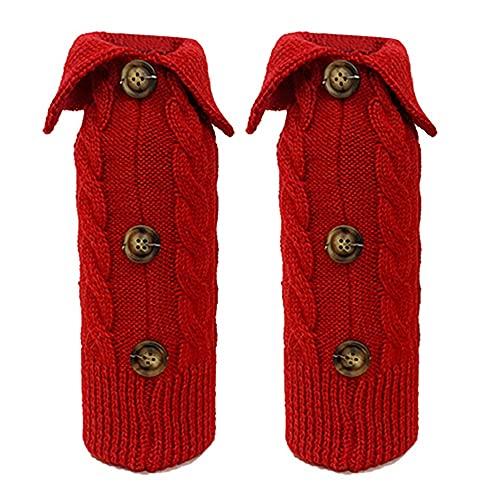 SODIAL 2 Piezas Bolsas de Cubierta de Botella de Vino de Navidad SuéTeres de Vino de Punto Vestido de Cubierta para Mesa de Cena de Navidad Decoraciones para el Hogar, A
