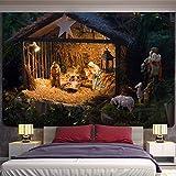 KHKJ Tapiz navideño con Chimenea y Nieve para Colgar en la Pared, Tapiz de Feliz Navidad para decoración del hogar, tapices con Estampado A21 200x150cm