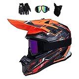 Casque Enduro VTT Adulte, Casque Motocross avec Goggle/Gants/Masque, Casque Moto Cross Pro Casque...