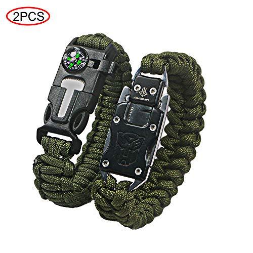 Ovtai Paracord-Armband, multifunktionales Outdoor-Survival-Armband, Feuerstarter, Kompass, Notfallpfeife und Messer, Schaber, Rettungsseil, Wandern und Reisen.