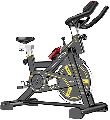 NINGXUE Bicicleta estática de Interior, Bicicleta de Spinning Ultra silenciosa, Sensor de frecuencia cardíaca, Asiento Ajustable, Unisex (tamaño: 101 * 50 * 113 cm),Amarillo