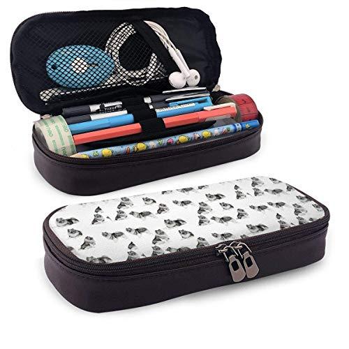 Étui à crayons en cuir Keeshonds Sac à cosmétiques de voyage portable pour étudiants garçons fille adultes