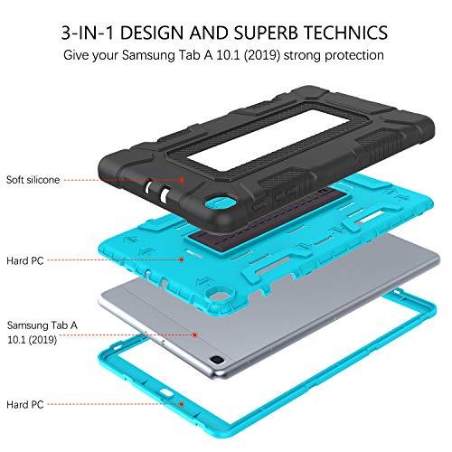 BENTOBEN Samsung Galaxy Tab A 10.1 2019 Hülle Schutzhülle mit Faltbarer Kickstand 360 Grad Case Robust Cover Aus Hybrid PC Hartschale und Silikon Cover Case Schutzhülle Stoßfeste - Schwarz Blau