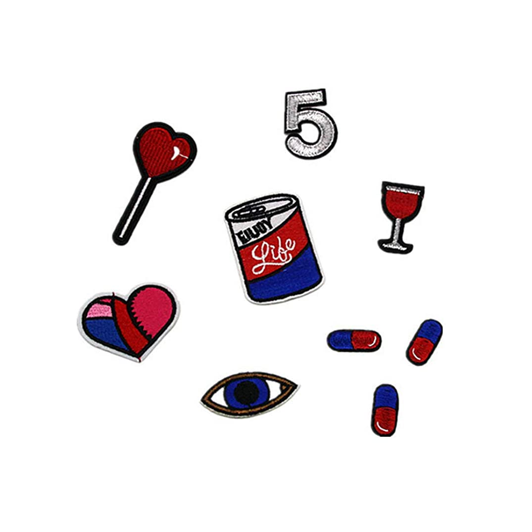 9 Pcs Embroidery Patches Eye Heart Pills Wine Cups Cartoon Patch for Bag Backpacks Jeans Hat T Shirt DIY Applique (Style 1)