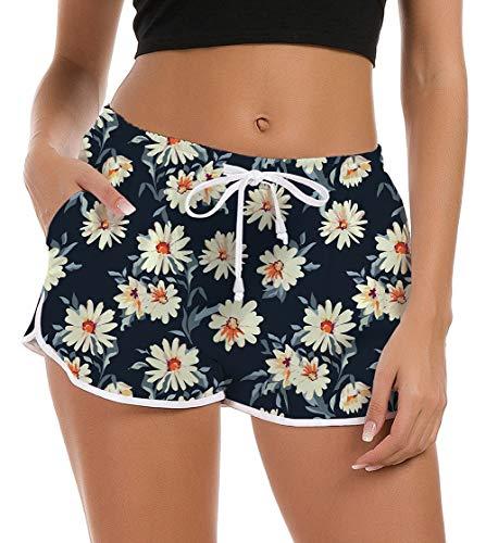 Damen Schwimmhose Badeshorts Kurze Sommer Hotpants Elastischer Bund Bikini Shorts Strandhose Schnell Trocknendes Tankini Hose L