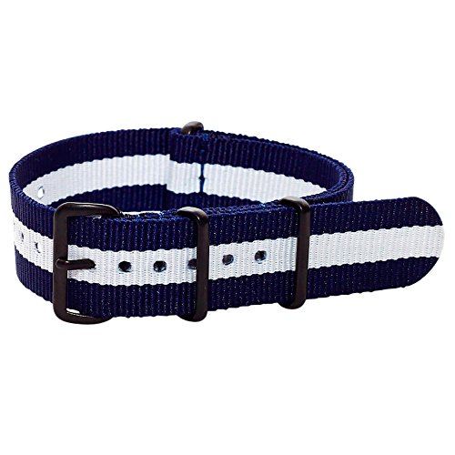 Clockwork Synergy Premium Nylon Nato Watch Straps bands PVD Black Hardware … (18mm, Navy/White)