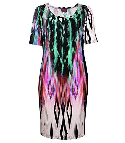 Sempre piu Sommerkleid Damen lang große Größen Grün Damenkleid Kleid Stretch, Größe:56