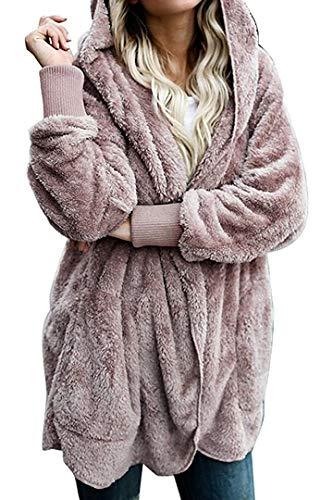 Zilcremo Cappotti Giacca Donna Pelliccia Giacca in Sherpa Calda Felpa con Cappuccio di Capispalla Cardigan Invernale Casuale Rosa Antico M